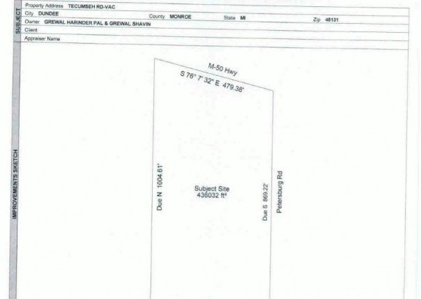 0 TECUMSEH RD-VAC Dundee, MI 48131 by Real Estate 4u $214,900