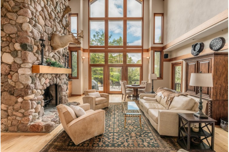 Two-story Stone Fireplace