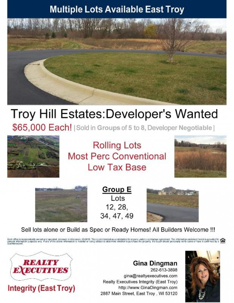 LT12 Troy Hill Estates LT28,34,47,49, East Troy, WI by Realty Executives - Integrity $325,000